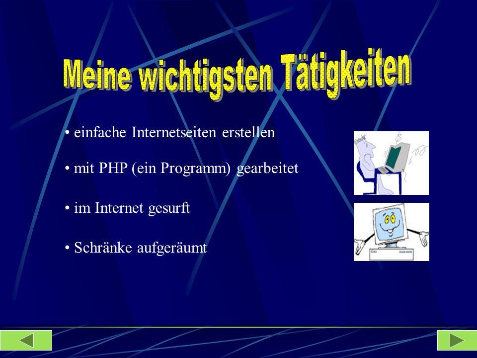 Schränke aufgeräumt im Internet gesurft mit PHP (ein Programm) gearbeitet einfache Internetseiten erstellen