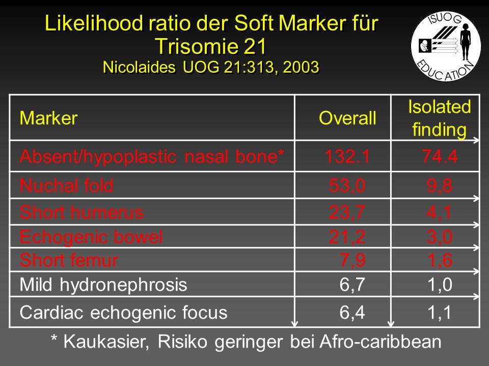 Signifikante Soft Marker für Aneuploidien Erhöhte Nackentransparenz Echogener Darm Fehlendes Nasenbein