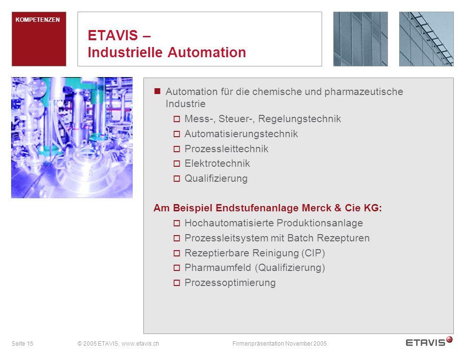 Seite 16© 2005 ETAVIS, www.etavis.chFirmenpräsentation November 2005 ETAVIS – Technisches Gebäudemanagement Betrieb und Instandhaltung der Haustechnik und Infrastrukturanlagen.