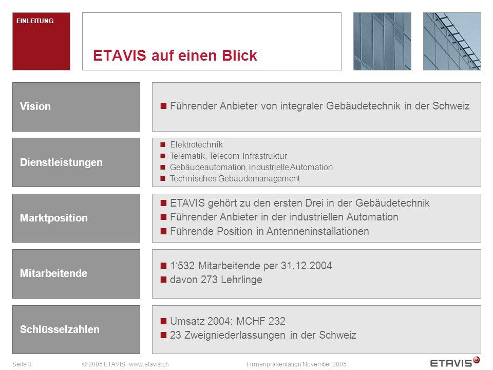 Seite 4© 2005 ETAVIS, www.etavis.chFirmenpräsentation November 2005 Zur ETAVIS AG gehören: ETAVIS Installationen AG, Volketswil ETAVIS Elettro-Impianti SA, Pregassona-Lugano ETAVIS Services AG, Münchenstein ETAVIS Arnold AG, Bern ETAVIS Broger AG, Müllheim ETAVIS Grossenbacher AG, St.