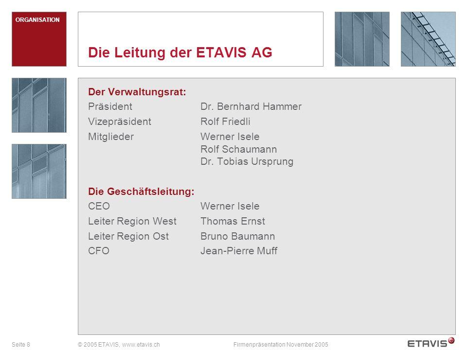 Seite 9© 2005 ETAVIS, www.etavis.chFirmenpräsentation November 2005 GESCHICHTE Meilensteine auf dem Weg zu ETAVIS 1987BBC/ABB akquiriert Mayer Elektroanlagen AG, Volketswil 1991Akquisition von Teleluce, es entsteht ABB Elettro-Impianti SA, Pregassona-Lugano 1992Erste Schweizer Zertifizierung nach ISO 9001 in der Gebäudetechnik-Industrie 1993Akquisition von Onz AG, Lachen 1997Akquisition von Elektro-Installationsfirmen Grossenbacher Installationen AG, St.