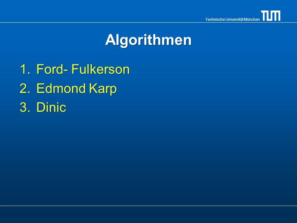 Technische Universität München Dinic Algorithmus 1.Man modifiziert das Netzwerk G, so dass im neuen Netzwerk G nur diejenigen Kanten bleiben, die auf einem optimalen Weg von s nach t führen.
