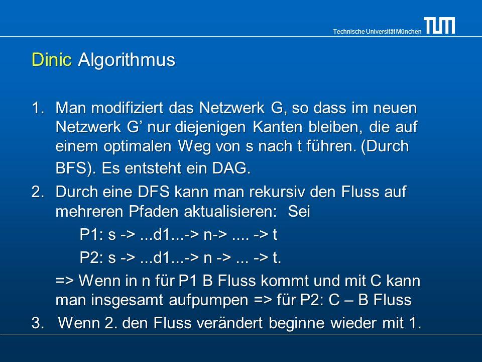 Technische Universität München Komplexität Ford- Fulkerson: Hängt stark von der Wahl des erweiternden Weges ab.