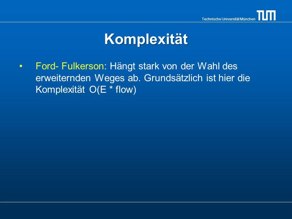 Technische Universität München Ford-Fulkerson(G; q; s)Ford-Fulkerson(G; q; s) 1 for alle Kanten (u, v) E 2 do f [u, v] = 0 3 f [v, u] = 0 4 while es existiert ein Pfad p von Q nach S im Restnetzwerk G -> O(flow) 5 do 6 c (p) = min{c (u, v) : (u, v) gehört zu p} 7 for alle Kanten (u, v) von p-> O(E) 8 do f [u, v] = f [u, v] + c(p) 9 f [v, u] = -f [v, u]