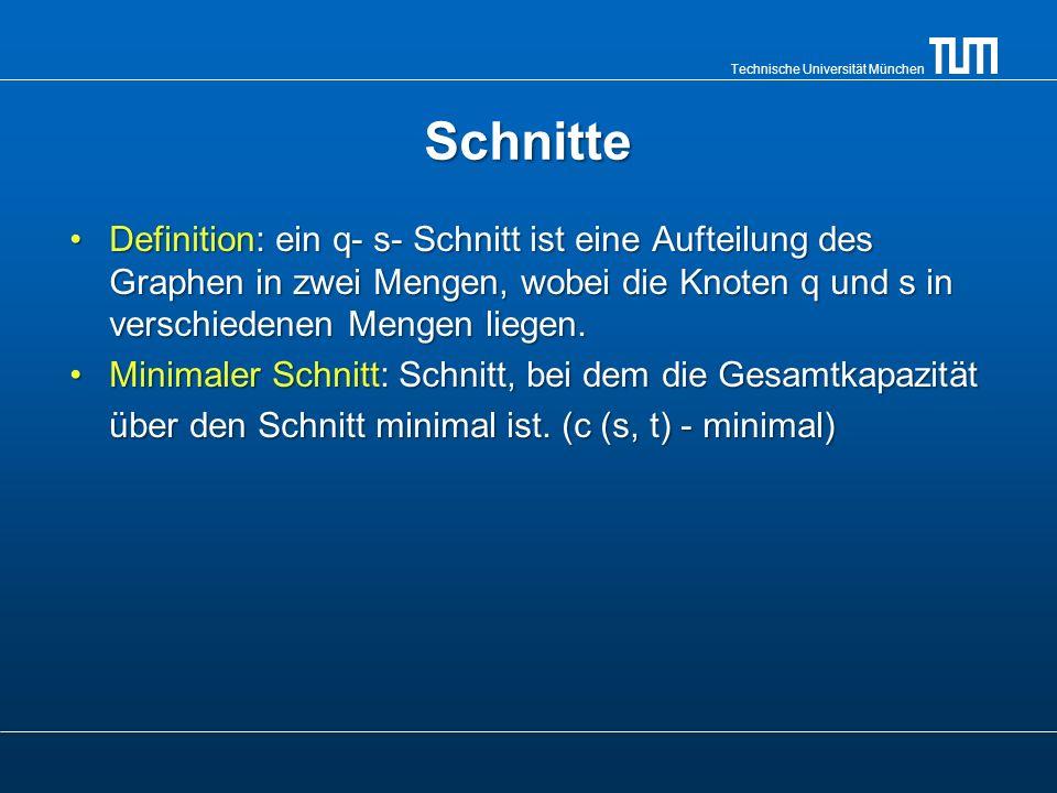 Technische Universität München Äquivalenz: Maximaler Fluss – minimaler Schnitt Wenn f ein Fluss in einem Flussnetzwerk G = (V, E) mit der Quelle s und der Senke t ist, dann sind die folgenden Bedingungen äquivalent: 1.f ist ein maximaler Fluss in G.