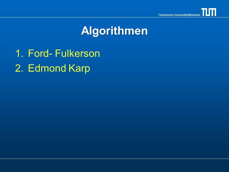 Technische Universität München Edmonds- Karp Algorithmus Benutzt dieselbe Idee wie Ford- Fulkerson.Benutzt dieselbe Idee wie Ford- Fulkerson.