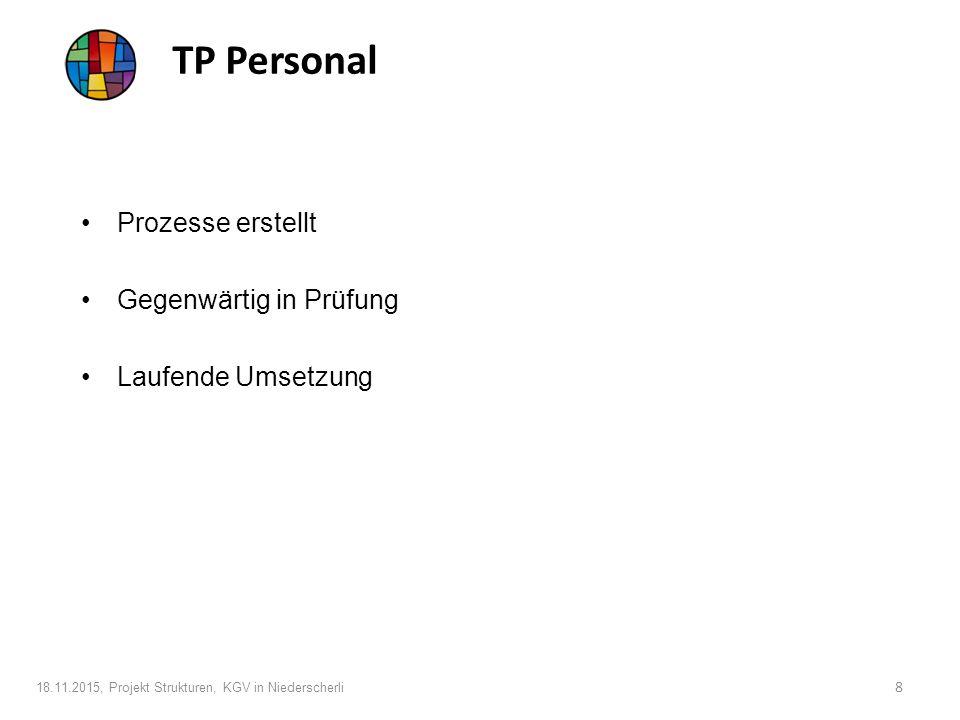 TP Finanzen In Bearbeitung Herausforderung neues Rechnungssystem Personelle Veränderungen/Pensionierungen 18.11.2015, Projekt Strukturen, KGV in Niederscherli 9