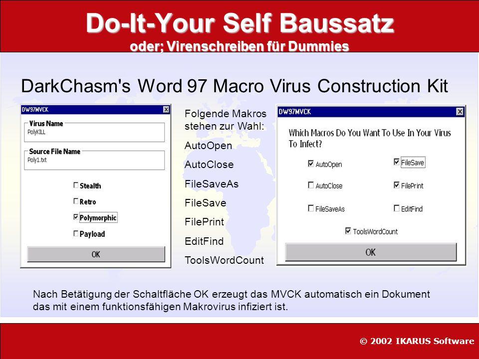 WURM - Generator oder; Virenschreiben für Dummies [K]Alamar VBS Worm Generator © 2002 IKARUS Software