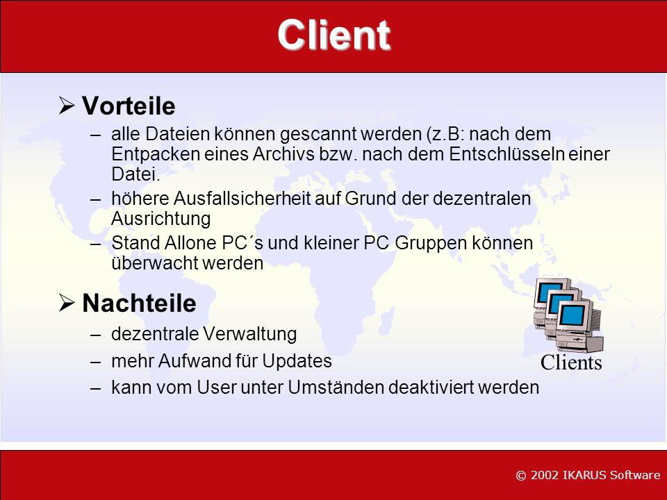 © 2002 IKARUS Software Was uns erwartet L Anzahl und Variationen steigen, Hardwareschäden werden modern L Multi-Office Makro Viren L IRC/ICQ/Pirch Viren L Steigende Netzwerkfunktionalität (Verknüpfung Wurm/Trojaner) L Entwicklung neuer Angriffstrategien (Wurm/DDOS) L Angriffe gegen PDC/PDA, WAP-Viren L Angriffe gegen Service Provider (ASP´s) L Verstärktes Auftreten von BackdoorProgrammen L Offensive Code (Samhain) L Linux/Unix Dervivat-Malware