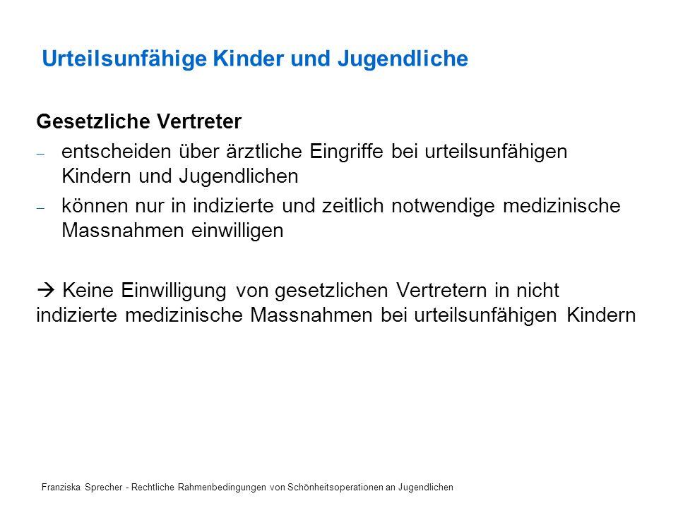 Franziska Sprecher - Rechtliche Rahmenbedingungen von Schönheitsoperationen an Jugendlichen .