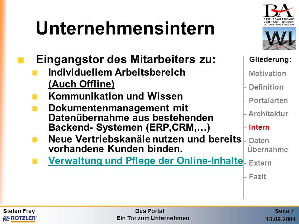 Stefan FreyDas Portal Ein Tor zum Unternehmen 13.09.2004 Datenübernahme Seite 8 Gliederung: - Motivation - Definition - Portalarten - Architektur - Intern - Daten Übernahme - Extern - Fazit