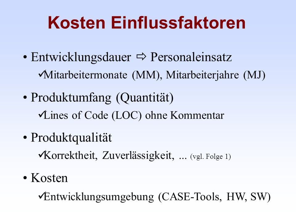 Teufelsquadrat nach Sneed vgl.H. M. Sneed: Software-Management, in H.