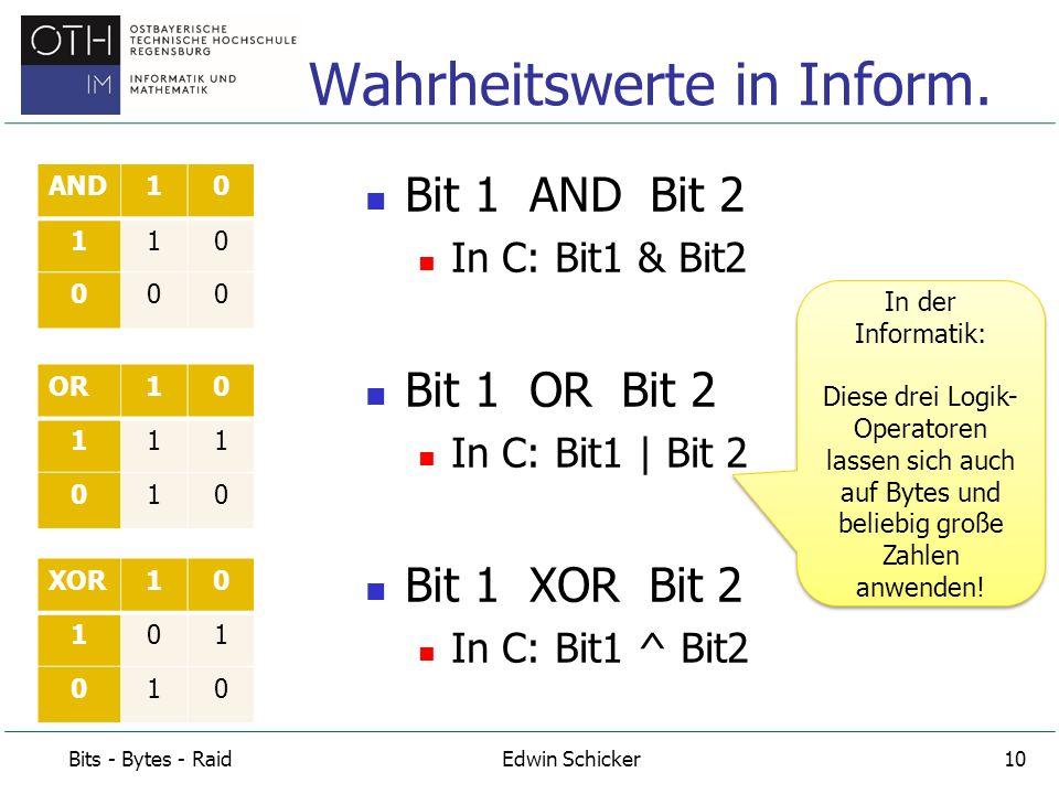 Zahl 1: 19 19  10011 Zahl 2: 26 26  11010 19 AND 26 = 18 10011 (19) 11010 (26) 10010 (bitweise mit AND verknüpft)  18 Beispiel zu Operator AND Bits - Bytes - RaidEdwin Schicker11 Die spinnen, die Informatiker.