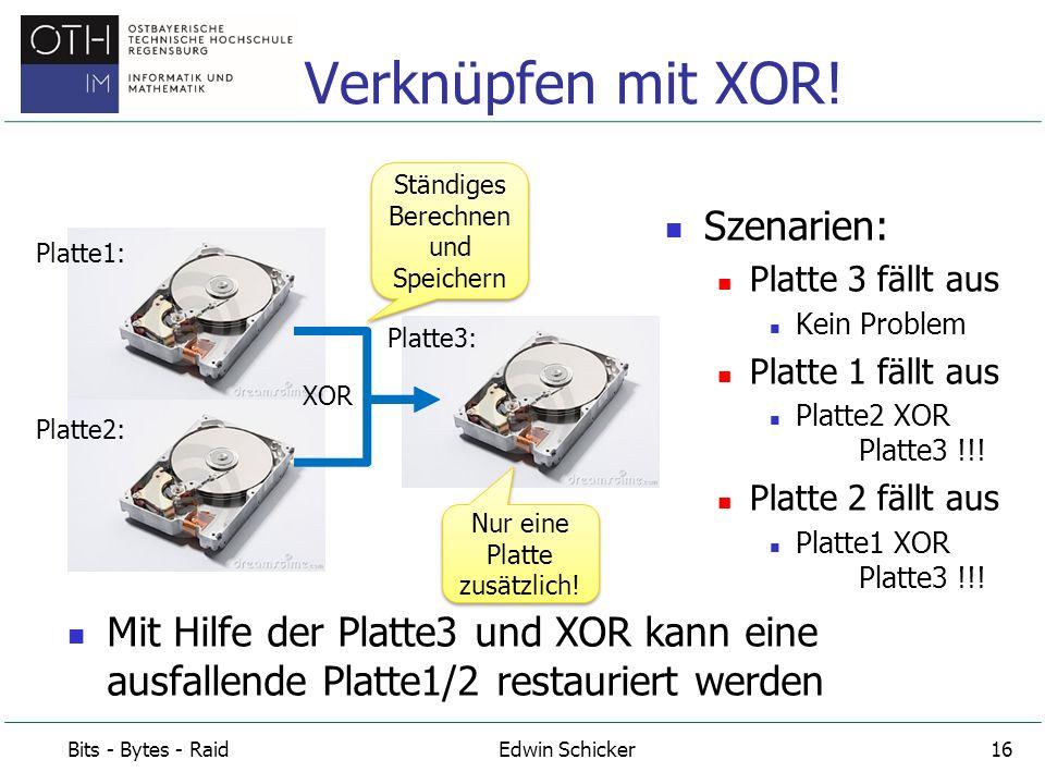 RAID = Redundant Array of Independent Disks Beispiel: 6 Festplatten im Verbund als RAID RAID 0: 6 Festplatten enthalten getrennte Daten Keine Ausfallsicherheit RAID 1: 3 Festplatten enthalten getrennte Daten, 3 Spiegelplatten Hohe Ausfallsicherheit RAID 5: 5 Festplatten enthalten getrennte Daten 1 Festplatte ist mit XOR mit den anderen 5 verknüpft Hohe Ausfallsicherheit RAID Bits - Bytes - RaidEdwin Schicker17 XOR zu den 5 Platten