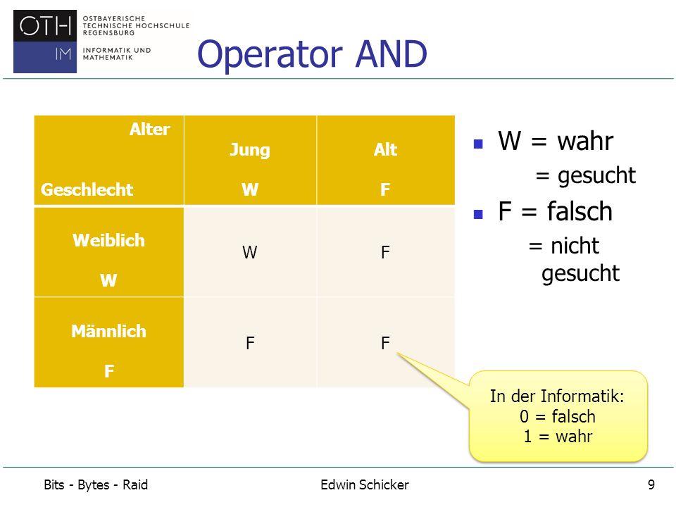 Bit 1 AND Bit 2 In C: Bit1 & Bit2 Bit 1 OR Bit 2 In C: Bit1 | Bit 2 Bit 1 XOR Bit 2 In C: Bit1 ^ Bit2 Wahrheitswerte in Inform.