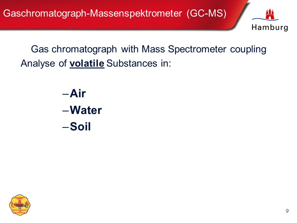 10 Aufbau des GC-MS GCMS GCMS: Bauteile Electrical Power Computer MS Mass Spectrometer Electronic-Module Gas- Supply- module GC Gas-Chromatograph Parts TUHH