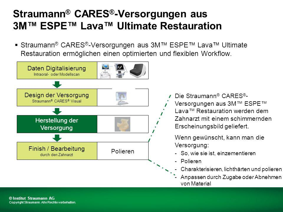 Straumann ® CARES ® -Versorgungen aus 3M ESPE Lava Ultimate Restauration ermöglichen einen optimierten und flexiblen Workflow.