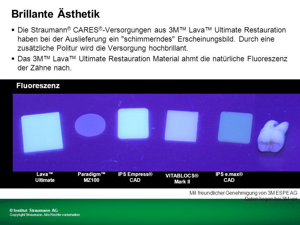 Paulo Monteiro DMD, MSC, Assistant Professor Lava Ultimate A2 Die Fluoreszenz entspricht der natürlicher Zähne Mit freundlicher Genehmigung von 3M ESPE AG Interne 3M-Testdaten liegen bei 3M vor © Institut Straumann AG Copyright Straumann.