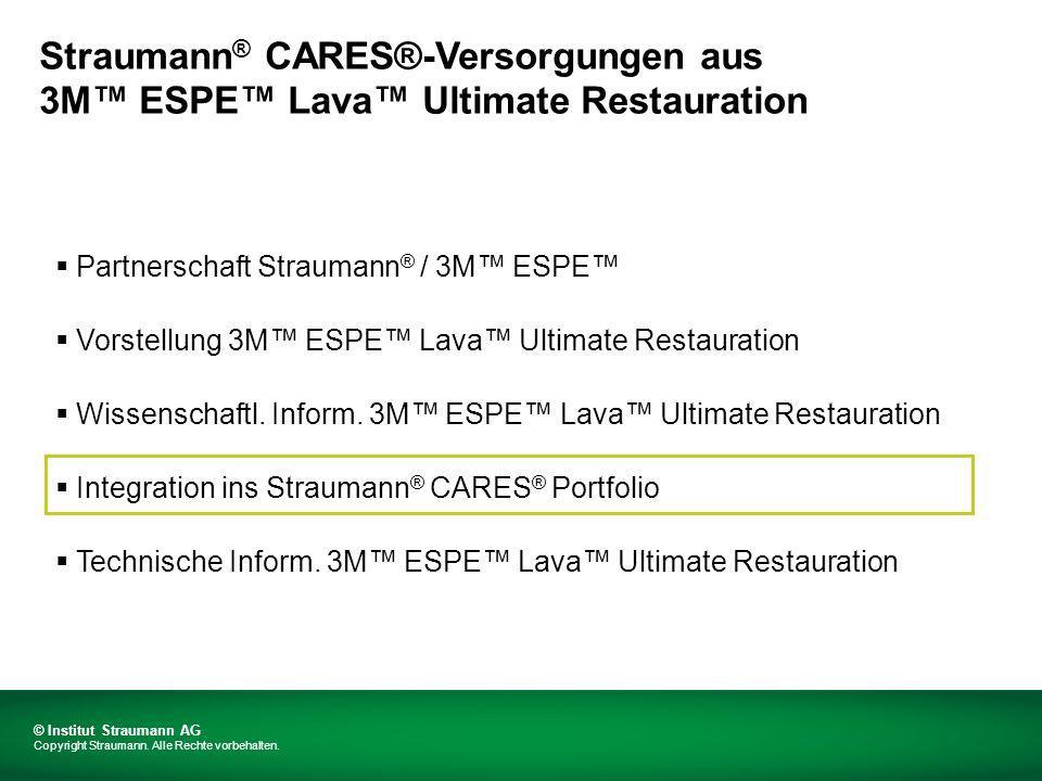 Richtlinien für Wandstärken wie von 3M ESPE definiert Von Straumann ® CARES ® zugelassene Mindestwandstärke 3M ESPE Lava Ultimate Restauration Designparameter © Institut Straumann AG Copyright Straumann.