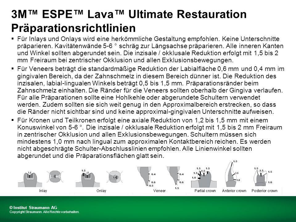 3M ESPE Lava Ultimate Restauration Finishing / Polieren Straumann ® CARES ® -Versorgungen aus 3M ESPE Lava Ultimate Restauration werden in hochgehärtetem Zustand geliefert.