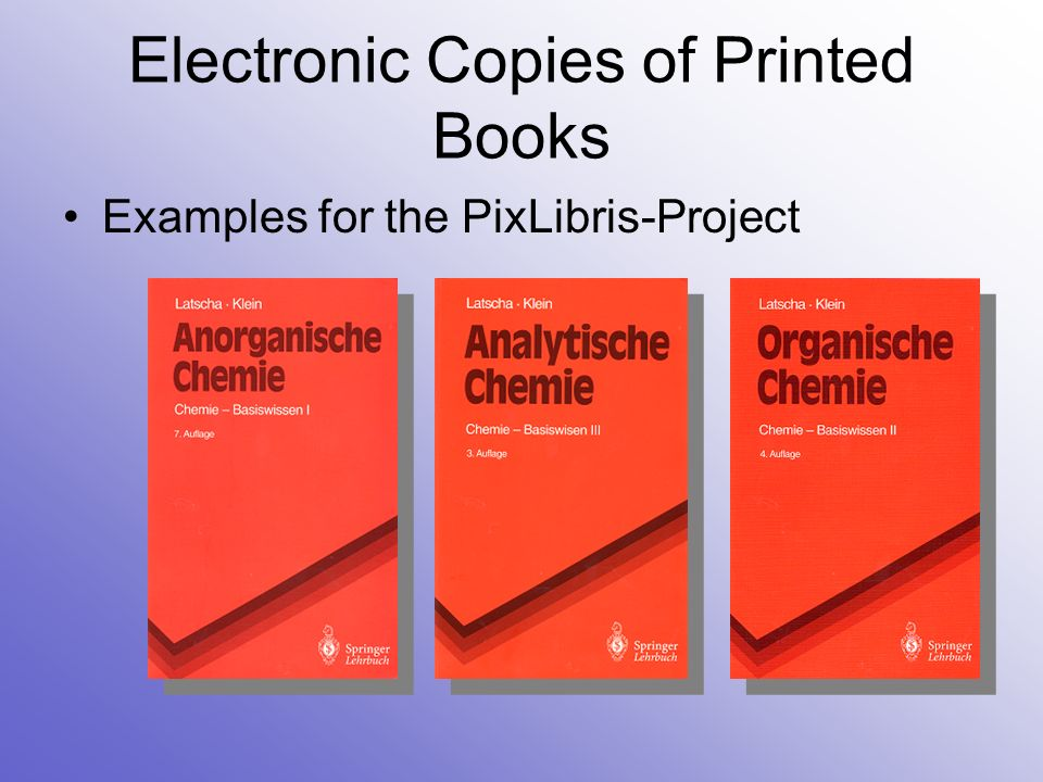 Electronic Copies of Printed Books User interface:
