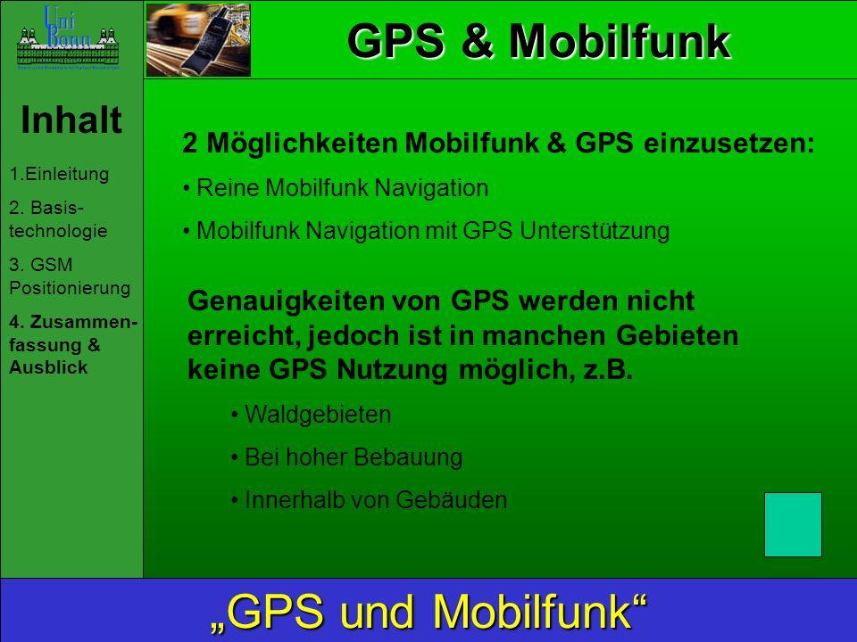 GPS & Mobilfunk Inhalt 1.Einleitung 2.Basis- technologie 3.