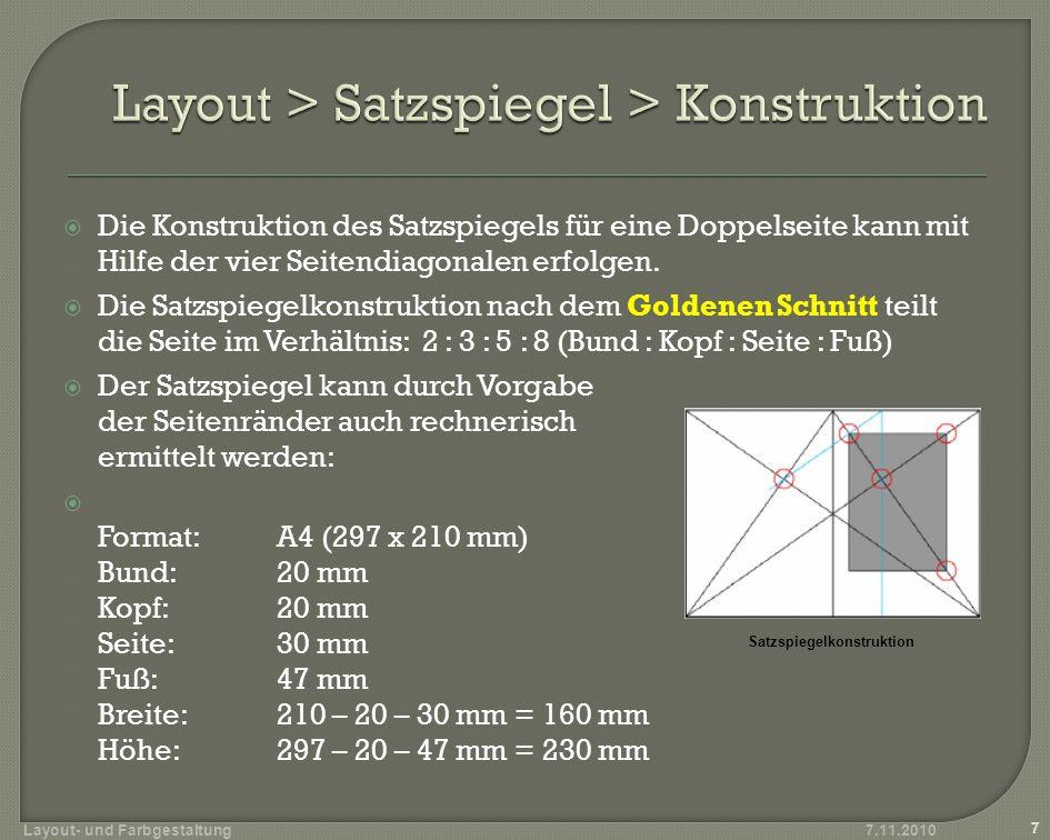 Graphische Herleitung Fibonacci-Folge (0 1 1 2 3 5 8 13 21...) = 1,618033989… 7.11.2010 8 Layout- und Farbgestaltung