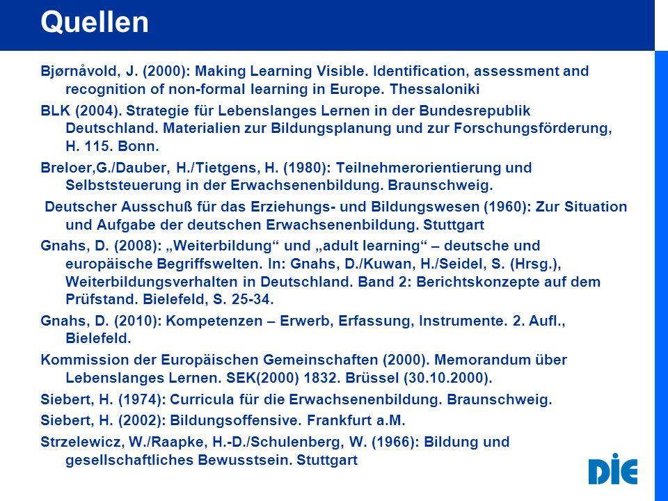 Prof.Dr. Dieter Gnahs Deutsches Institut für Erwachsenenbildung (DIE) Heinemannstr.
