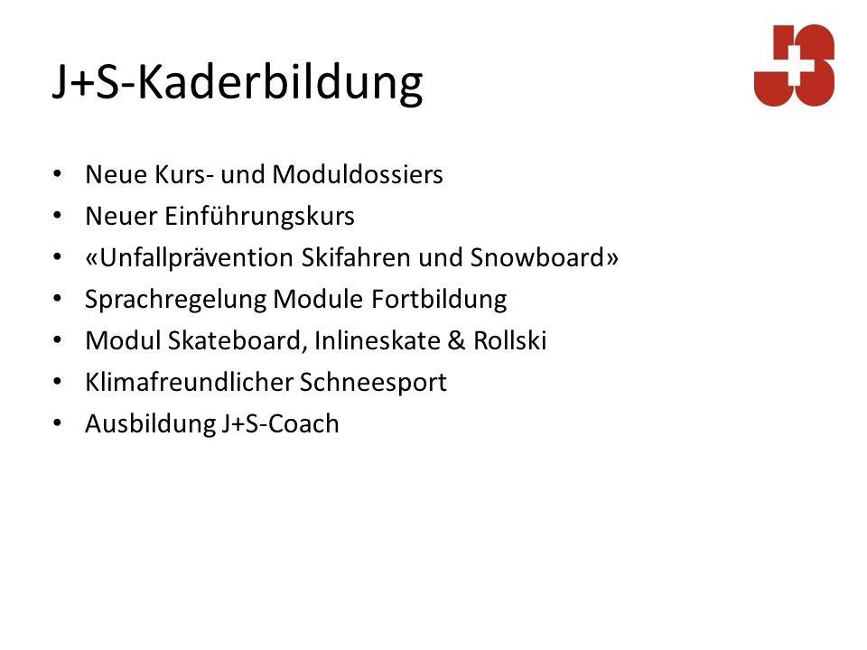 Neue Kurs- und Moduldossiers J+S-Leiterkurs (Grundausbildung) Überarbeitung Programm (Inhalt) Überarbeitung Kompetenznachweis (Methode) J+S-Modul Methodik (Weiterbildung 1): Unterichtskompetenz im Zentrum Arbeit mit Jugendlichen Neues Dossier zum Kompetenznachweis (s.