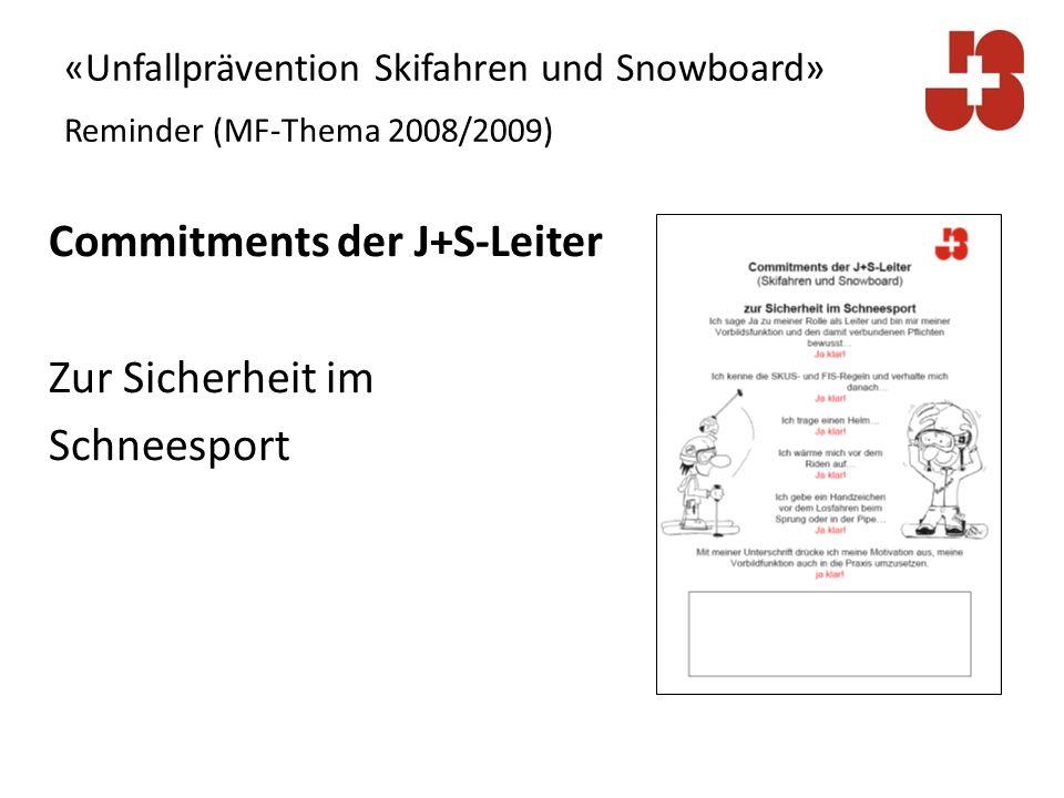 Commitments der J+S-Leiter Zur Sicherheit im Schneesport 1.Ich sage Ja zu meiner Rolle als Leiter und bin mir meiner Vorbildsfunktion und den damit verbundenen Pflichten bewusst… Ja klar!