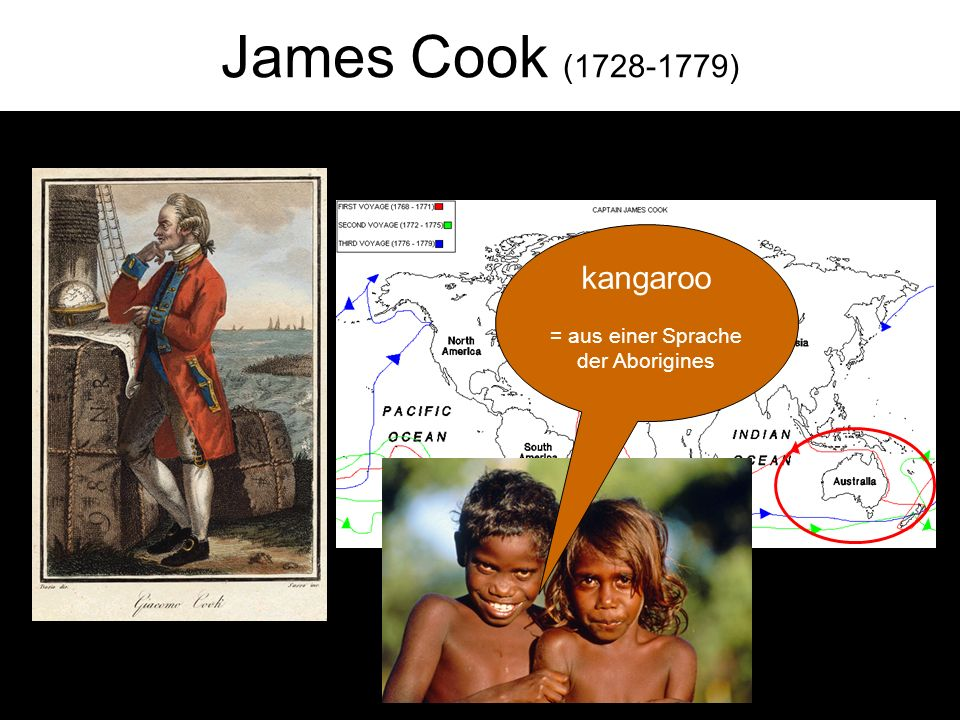 James Cook (1728-1779) kangaroo = aus einer Sprache der Aborigines