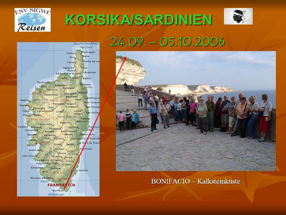 KORSIKA/SARDINIEN CASTELL D`ARRAGIO in 245 m Höhe 24.09. – 05.10.2006