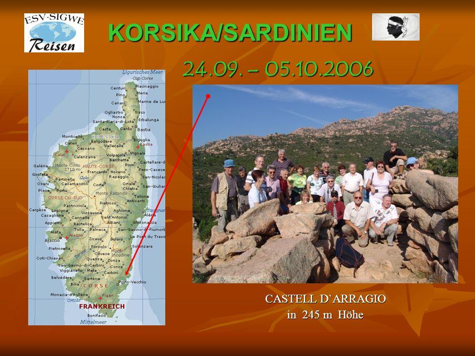 KORSIKA/SARDINIEN CASTELSARDO – Roccia dell` Elfante - Elefantenfelsen 24.09. – 05.10.2006
