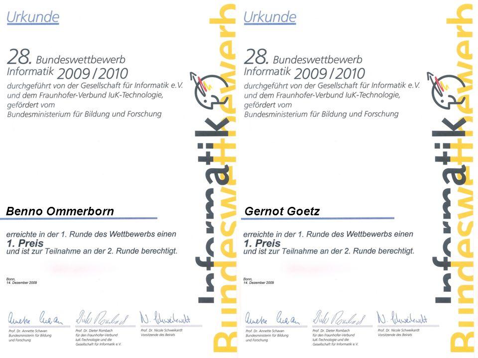 Danke für Ihre Aufmerksamkeit Präsentation von: Gernot Goetz Benno Ommerborn Informatik LK 12 VDB 2010