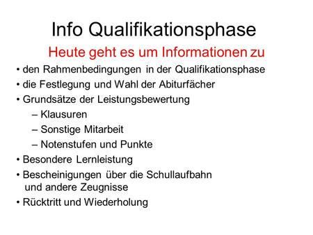 Info Qualifikationsphase