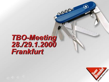 TBO-Meeting 28./29.1.2000 Frankfurt © Team Brendel 2000 Agenda - Übersicht Freitag, 28.1.2000 -Review / Preview Forecast; Budgets 2000 -Marketing Report.