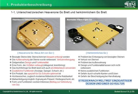 1-1. Unterschied zwischen Heavenone Go Brett und herkömmlichem Go Brett 1 Copyright © by Baduk Korea Co.,Ltd. All rights reserved. Baduk Korea CO.,LTD.