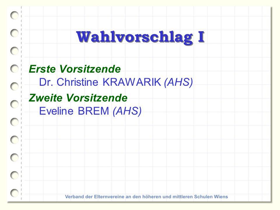 Wahlvorschlag II Erste Schriftführerin DSA Maria MORITZ (AHS) Zweite Schriftführerin Dr.