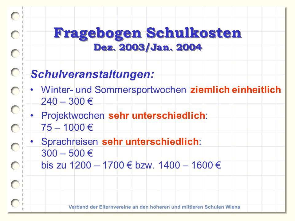 Fragebogen Schulkosten Dez.2003/Jan.
