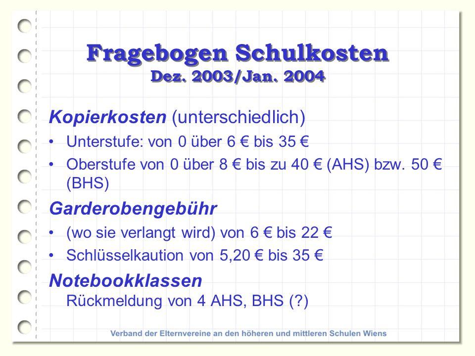 Fragebogen Schulkosten Dez.2003/Jan. 2004 Elternvereinsbeitrag von 16 bis 42 (öffentl.