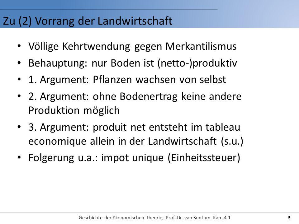 Zu (3) Tableau Economique (Quesnay) Geschichte der ökonomischen Theorie, Prof.