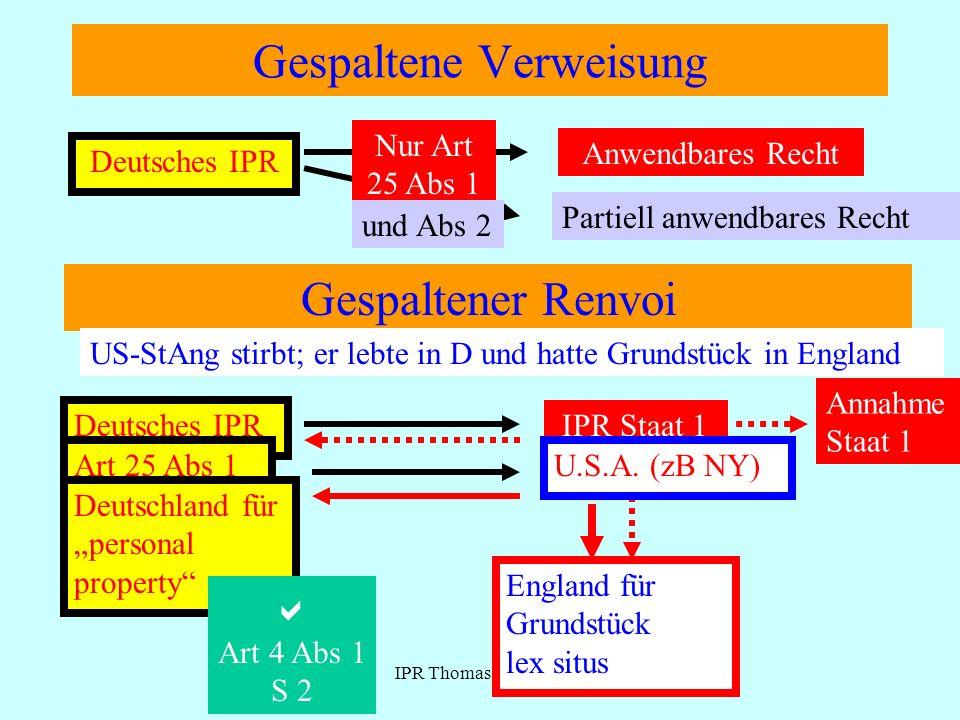IPR Thomas Rauscher Verweisung in Mehrrechtsstaaten Dt.