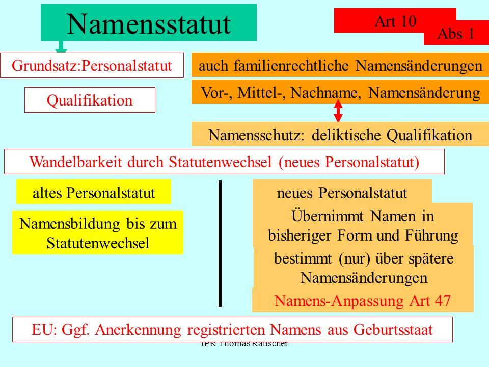IPR Thomas Rauscher Namensstatut: Wahl durch Ehegatten Art 10 Abs 2...ihren...Namen wählen...nach dem Recht eines Staates...