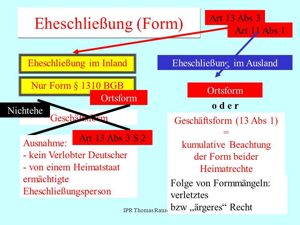 IPR Thomas Rauscher Verlöbnis Eingehung materielle Voraussetzungen analog Art 13 Abs 1 Form: Art 11 Wirkungen (Verlöbnisbruchansprüche) Kumulation beider Heimatrechte .