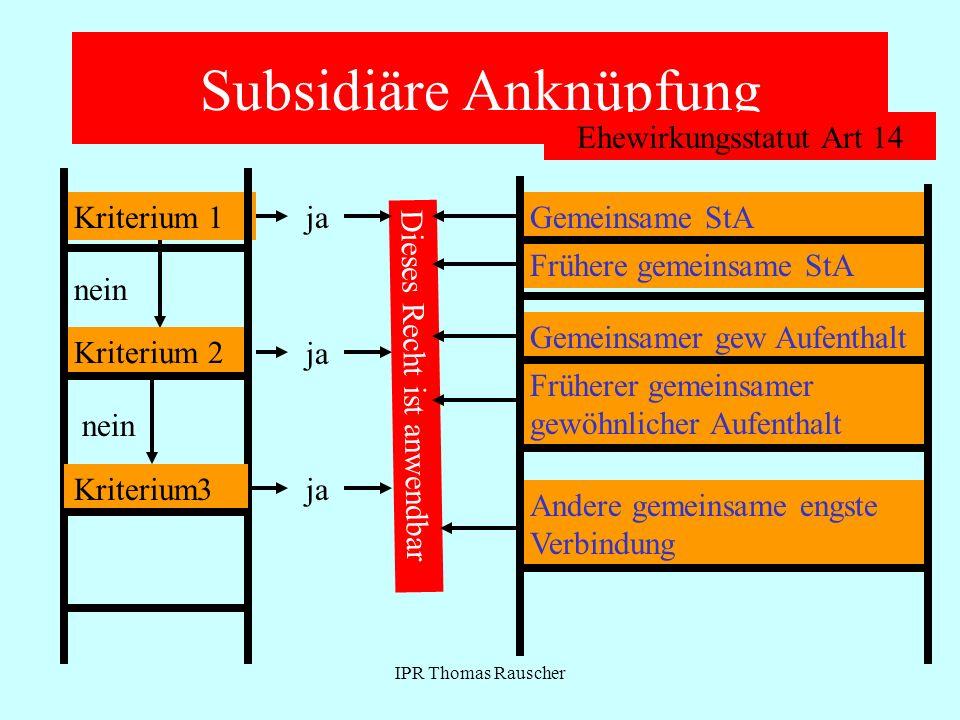 IPR Thomas Rauscher Ehewirkungsstatut Art 14 QualifikationGeringe unmittelbare Bedeutung Problem: Verhältnis zu Art.