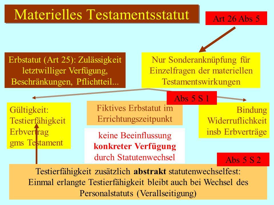IPR Thomas Rauscher Testamentsformstatut Art 26 Abs 1-4 Haager TestamentsformÜbk Art 1 Übk favor validitatis testamenti alternativ a) Errichtungsort b) ein Heimatrecht (Errichtung oder Tod) c) ein Wohnsitz d) ein gew.