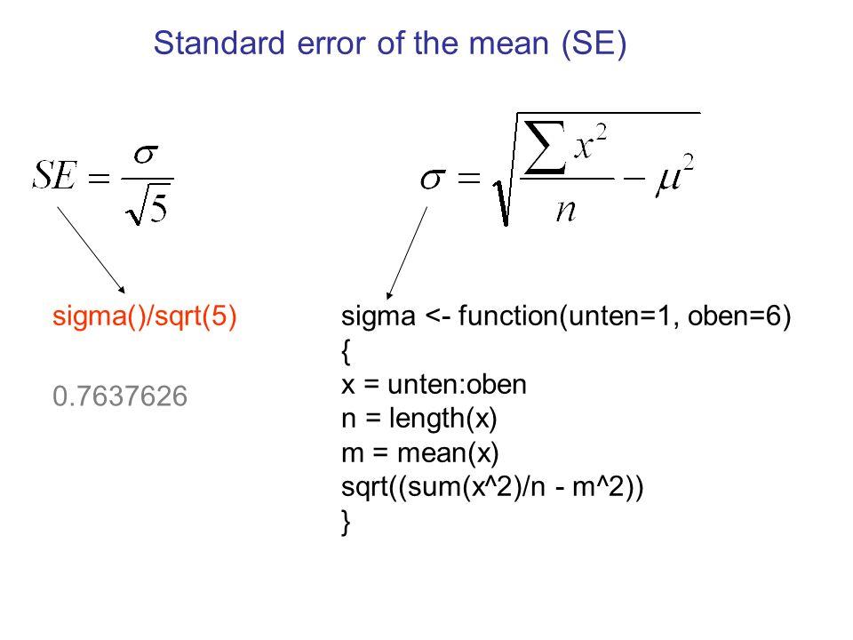 Standard error of the mean (SE) und der Vertrauensintervall 95% Vertrauensintervall Wenn ich 5 Würfel werfe, dann liegt der Stichproben- Mittelwert, m, dieser 5 Zahlen zwischen 2.00 und 5.00 mit einer Wahrscheinlichkeit von 95% (0.95).
