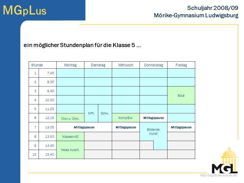 http://mgl.lb.bw.schule.de MG p L us Schuljahr 2008/09 Mörike-Gymnasium Ludwigsburg MG p L us alles Weitere am Tag der offenen Tür … Samstag, 21.