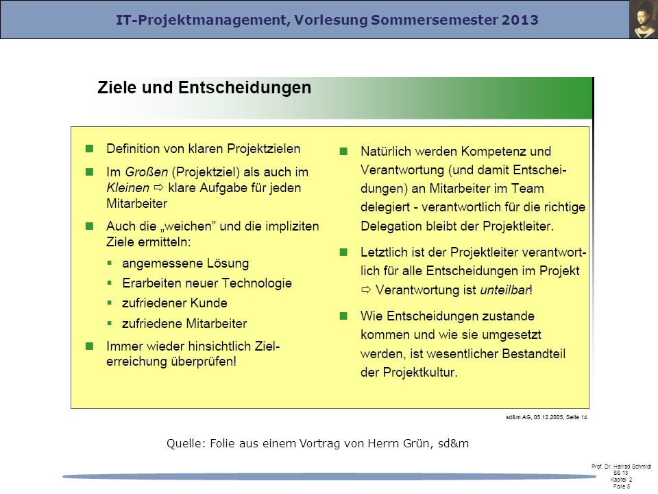 IT-Projektmanagement, Vorlesung Sommersemester 2013 Prof.