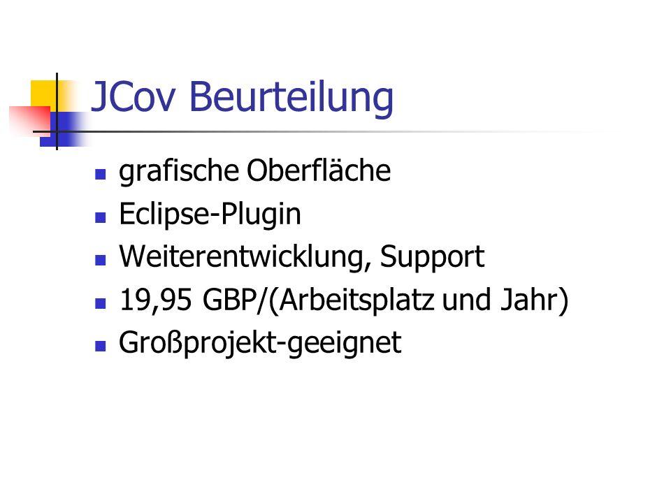 JCov Quellen http://www.JCoverage.com http://www.codework.com/JCover/prod uct.html http://www.codework.com/JCover/prod uct.html http://www.Developers.Sun.com http://soft.com/eValid/Products/License /types.3.html http://soft.com/eValid/Products/License /types.3.html